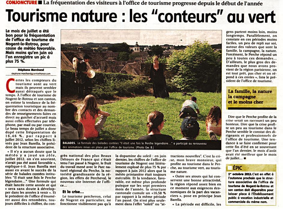 """L'Echo Républicain - """"Tourisme nature : les conteurs au vert..."""""""